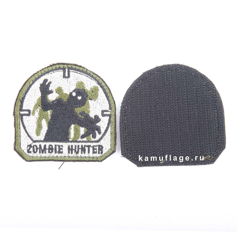 Купить Шеврон Zombie Hunter 6х6 см олива/черный/белый, Камуфляж.Ру