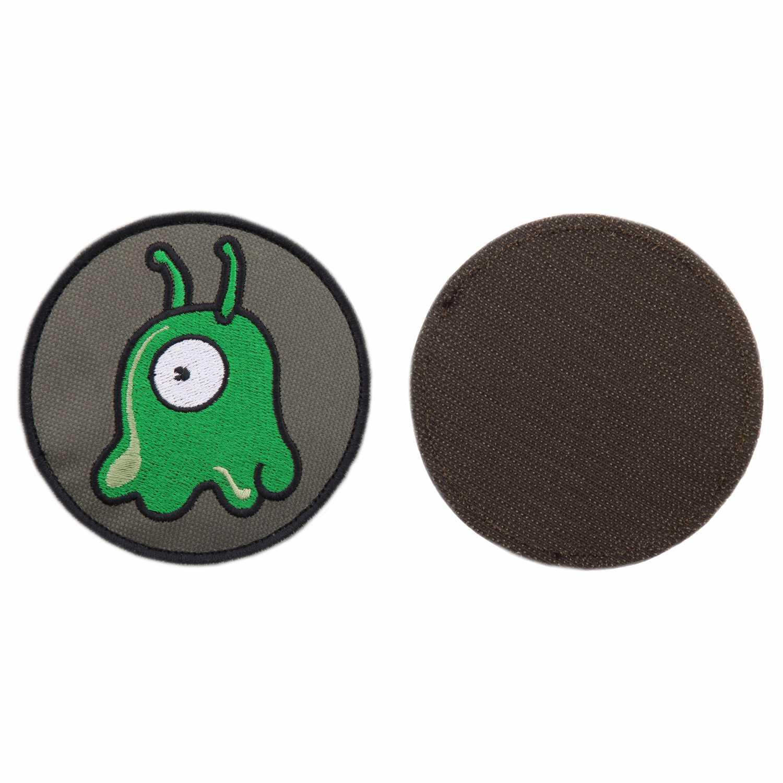 Шеврон Мозговой слизень круглый 9 см олива/зеленый/белый