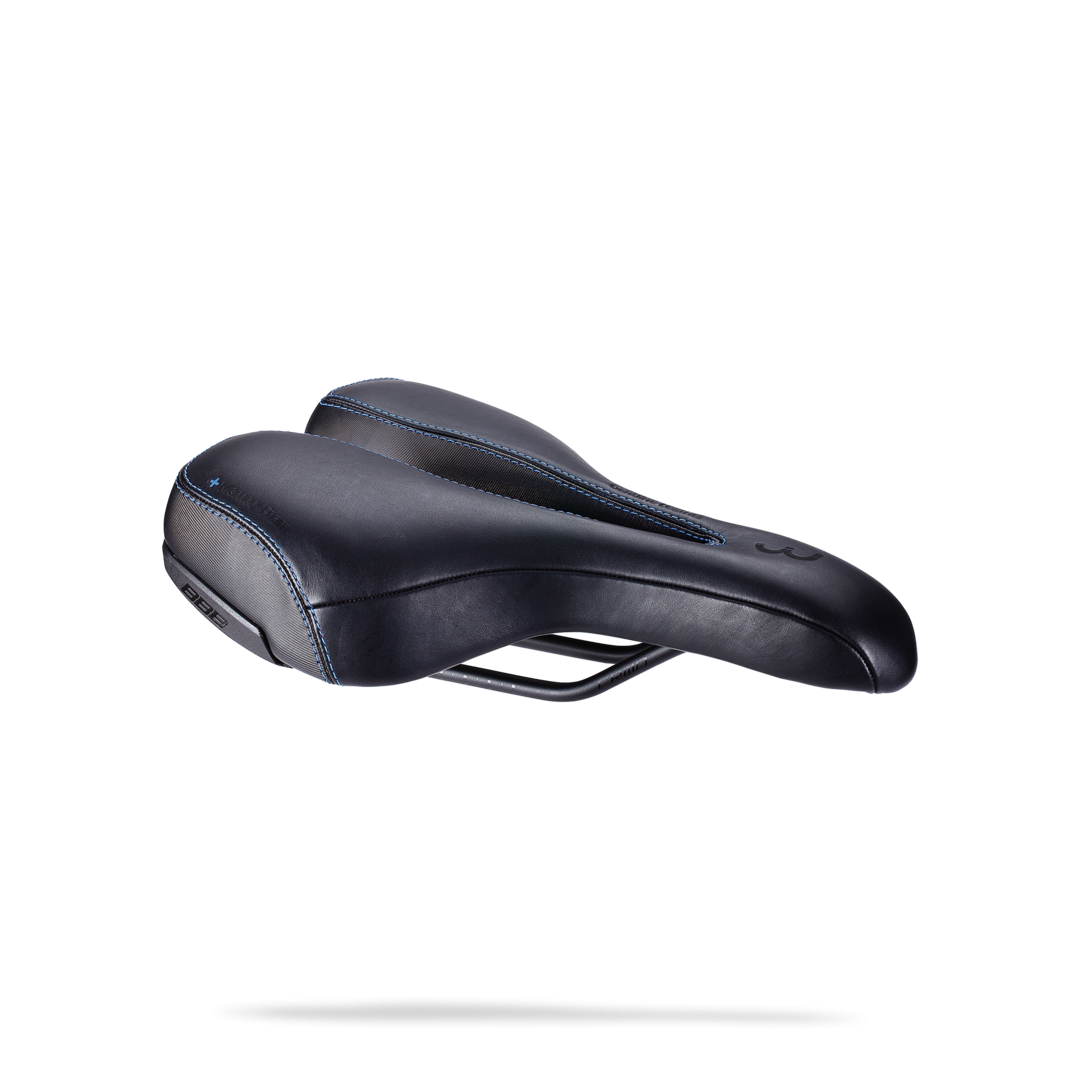 Седло BBB SportPlus Active Leather ergonomic saddle memory foam черный