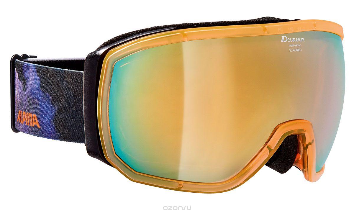 Очки горнолыжные Alpina SCARABEO MM black/blue/orange/print (supernova), Горнолыжные очки и маски - арт. 1030910418