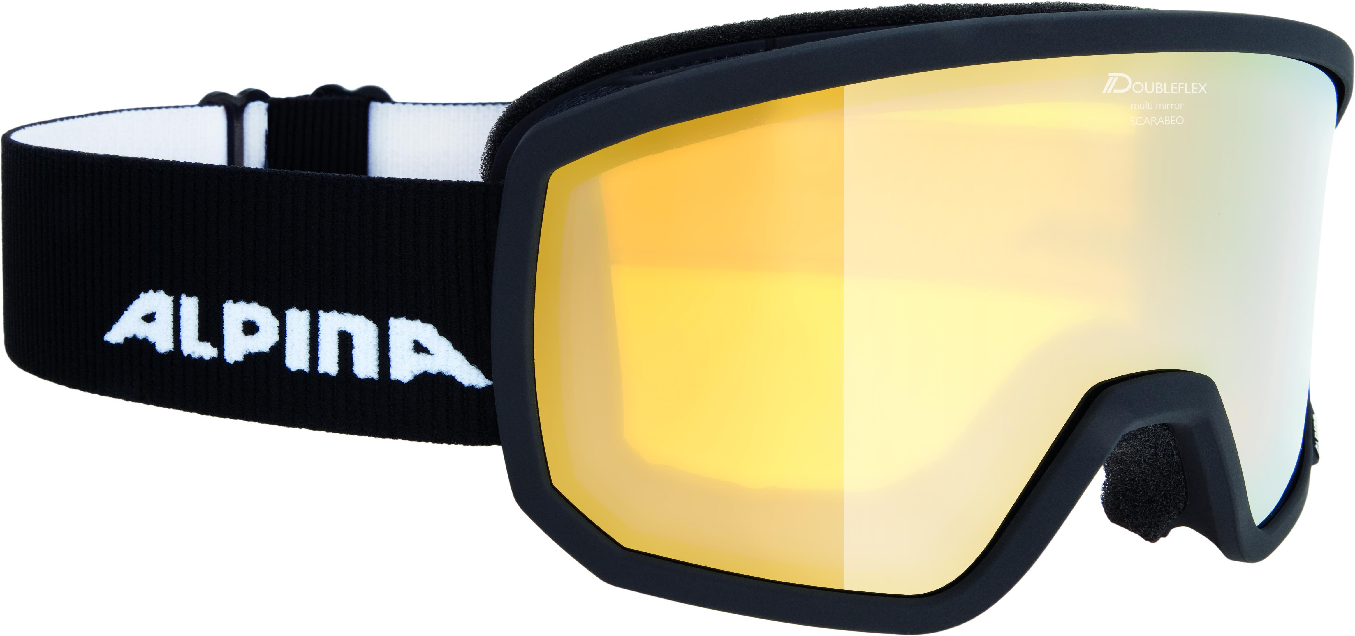 Купить Очки горнолыжные Alpina SCARABEO MM zyl. black matt MM gold zyl. S2 / MM gold zyl. S2 (L50)