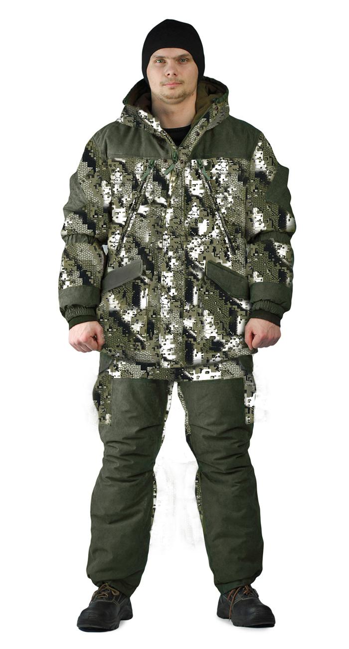 Костюм зимний ГРАСК куртка/полукомбинезон цвет:, камуфляж белые соты/темная олива, ткань : Алова/Финляндия, Зимние брюки и полукомбинезоны - арт. 1123620348