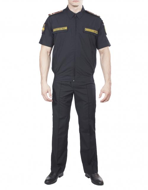 Купить Костюм летний МПА-36 штабной с коротким рукавом Черный, ткань Панацея, Магеллан