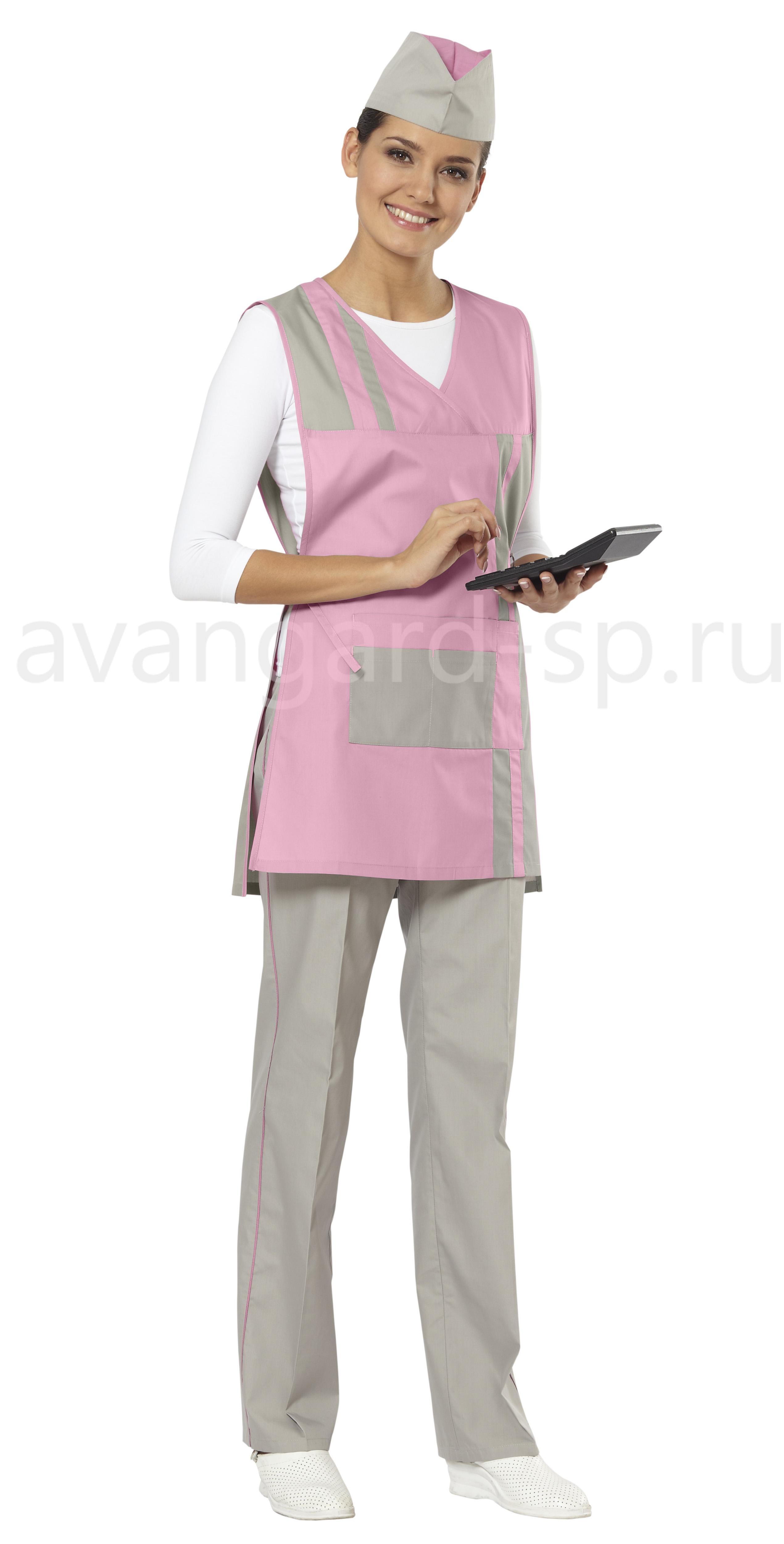 Комплект Стиль (фартук-сарафан, брюки, пилотка) цвет розовый+серый