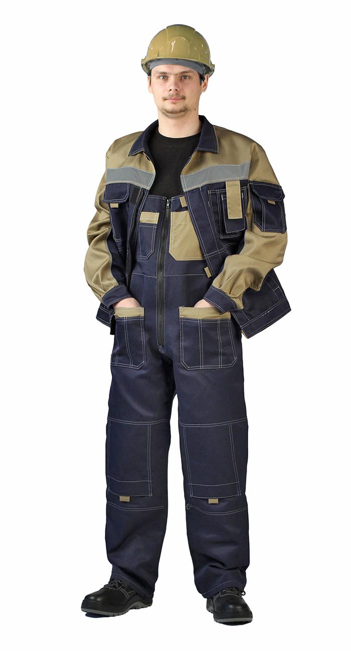 Костюм Рольф куртка/полукомбинезон темно-синий/бежевый, Рабочие костюмы - арт. 1007040257
