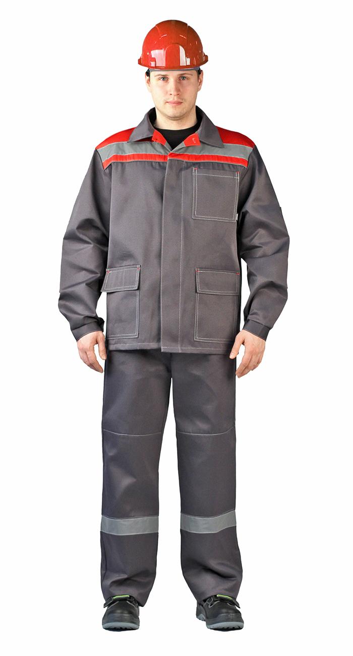 Костюм Ударник куртка/брюки темно-серый/красный, Рабочие костюмы - арт. 1007050257