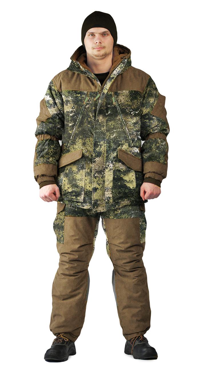 Костюм зимний ГЕРКОН куртка/брюки, камуфляж мох/бежевый, ткань : Алова/Канада, Костюмы для охоты - арт. 1144450399