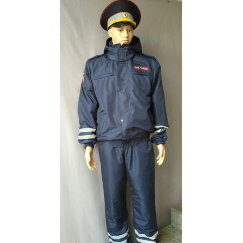 Ветровка ДПС (мембрана Локер, подкладка 100% п/э, вышитые шевроны, цвет синий), Форменные куртки и плащи - арт. 1018990331