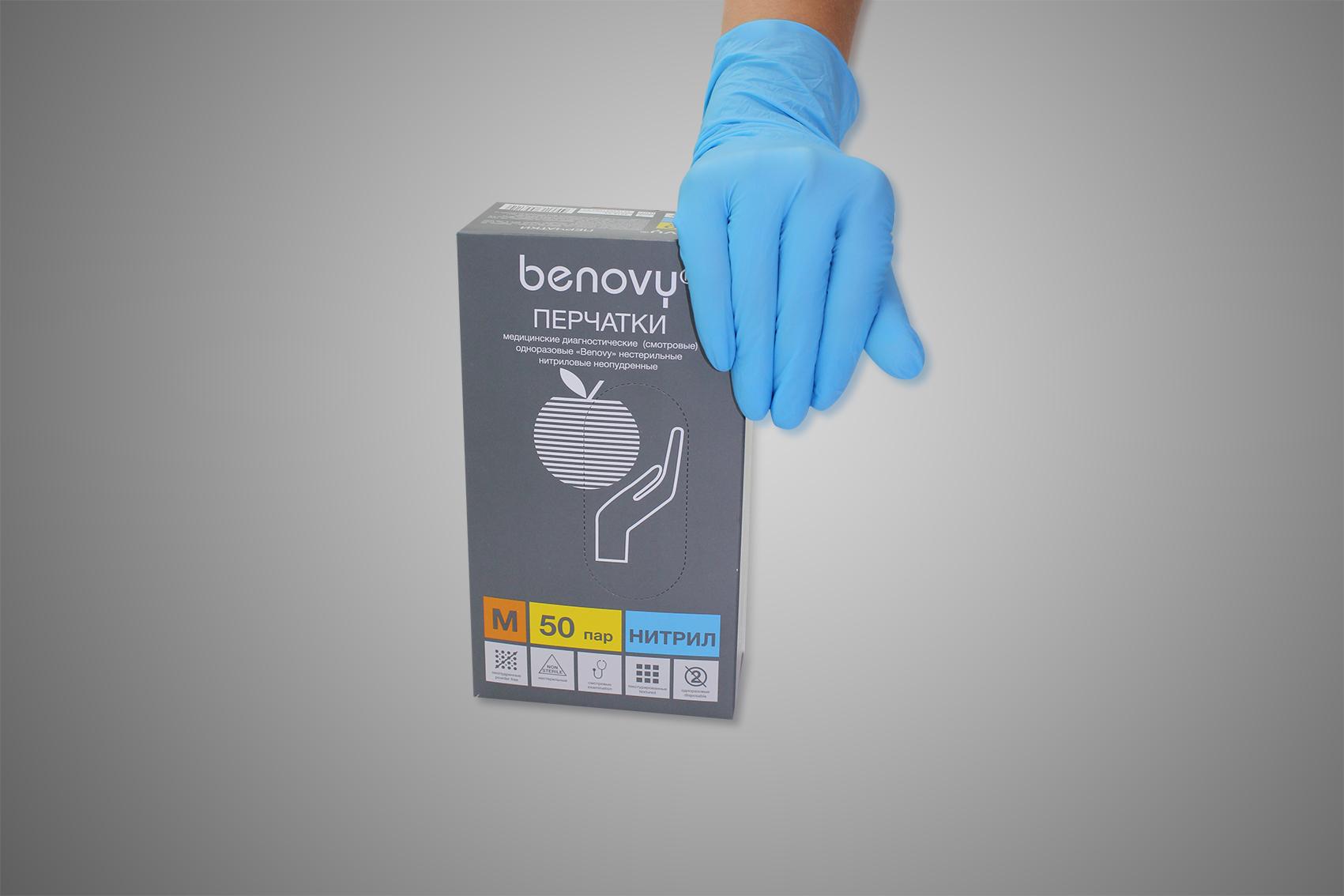 Купить Перчатки нитриловые смотровые 3, 5гр цвет голубой (50 пар в уп.), Ursus