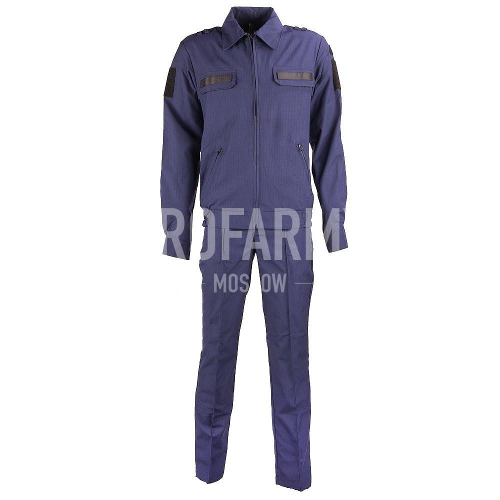 Костюм офисный синий, длинный рукав, габардин, Форменные костюмы - арт. 1051650247