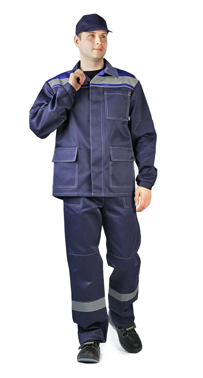 Костюм Ударник куртка/брюки темно-синий/василёк, Рабочие костюмы - арт. 1007060257