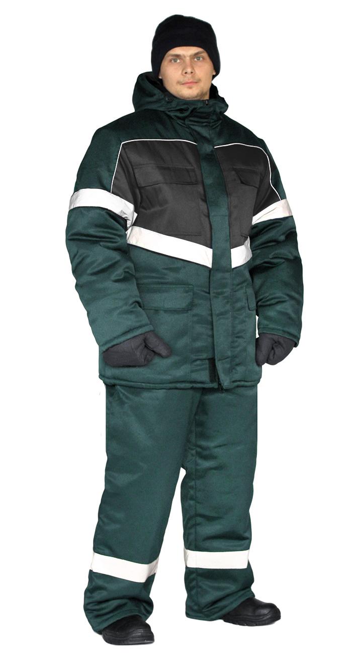 Костюм зимний ВЕКТОР куртка/полукомбинезон цвет: темно-зеленый/черный, Зимние брюки и полукомбинезоны - арт. 1120710348