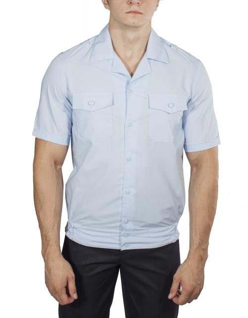 Рубашка ПОЛИЦИЯ светло-голубая с коротким рукавом на резинке с отложным воротником