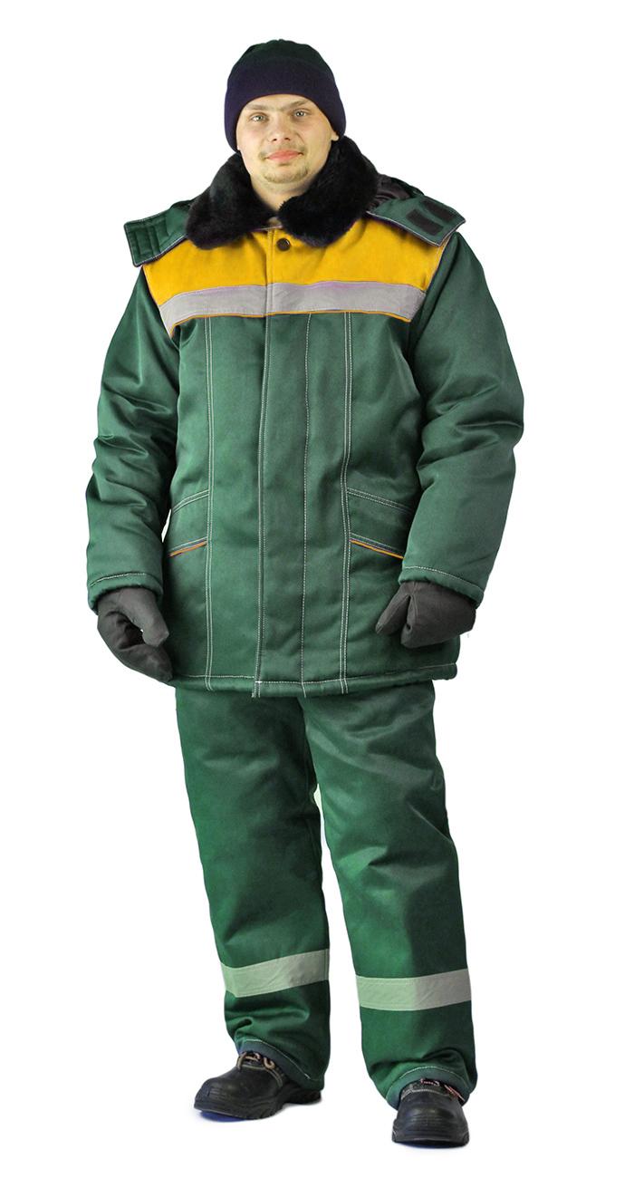 Костюм зимний ВЬЮГА куртка/полукомб. цвет: т..зелёный/жёлтый, Куртки - арт. 1106810156