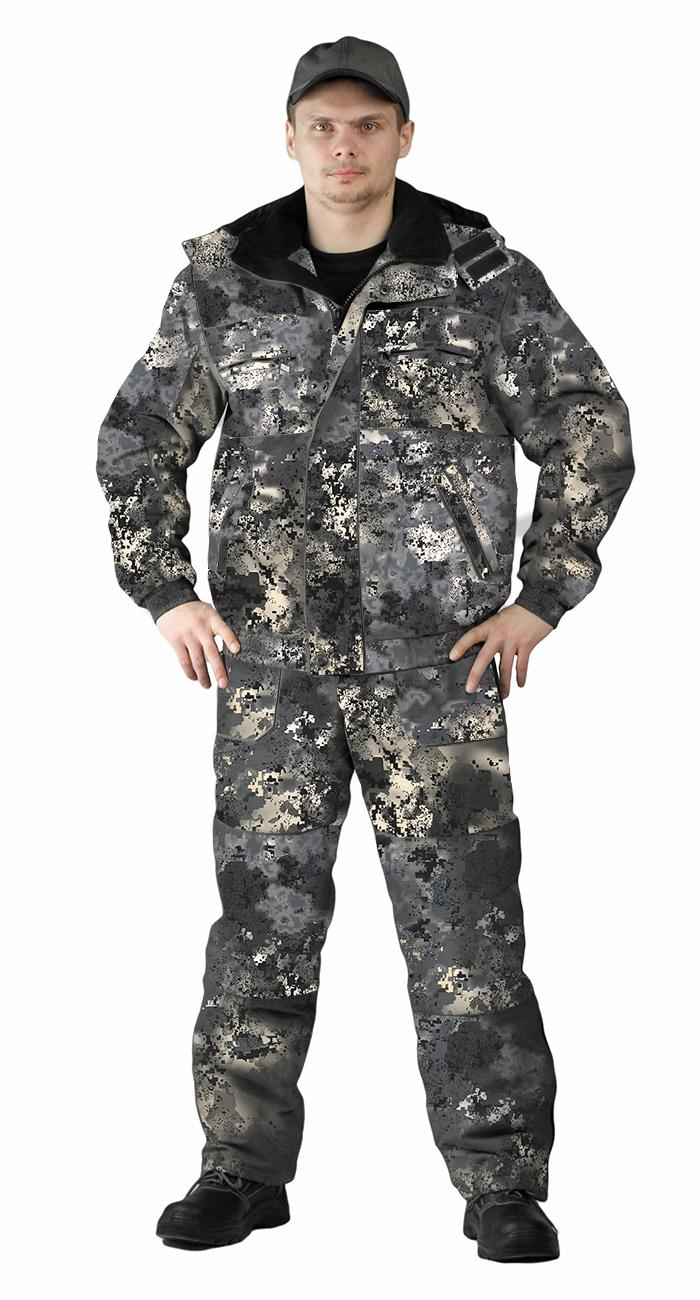 Костюм зимний ВИХРЬ куртка/полукомбинезон, камуфляж серая цифра, ткань : Алова, Костюмы для охоты - арт. 1151310399