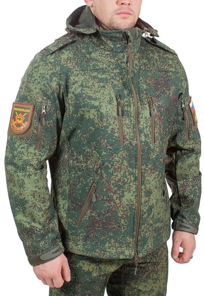 Куртка с капюшоном МПА-26-01 (ткань софтшелл), камуфляж зеленая цифра