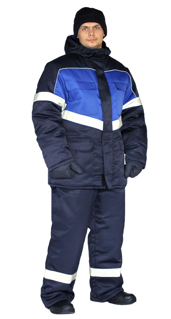Костюм зимний ВЕКТОР куртка/полукомбинезон цвет: темно-синий/василек, Зимние брюки и полукомбинезоны - арт. 1116340348