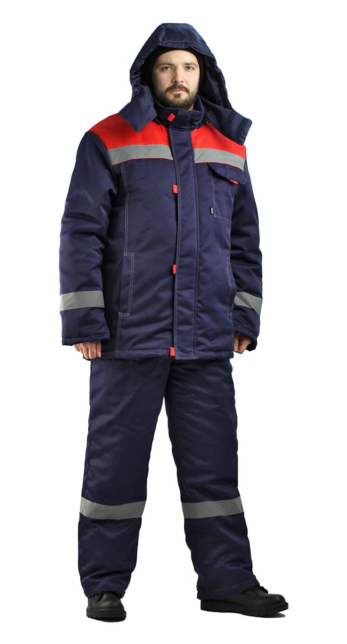 Костюм мужской Тимбер зимний с полукомбинезоном темно-синий с красным, Зимние брюки и полукомбинезоны - арт. 891910348