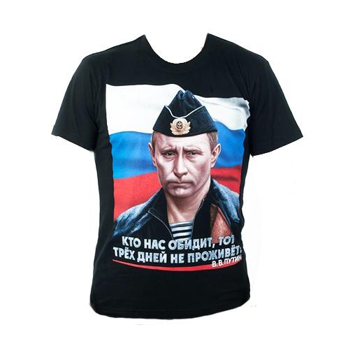 Купить Футболка Путин в пилотке черн, PROFARMY