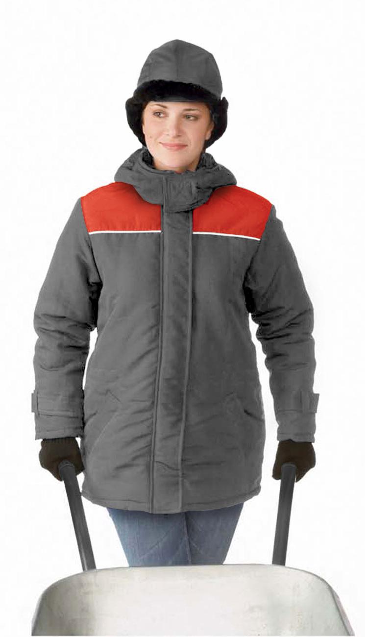 Куртка ЖЕНСКАЯ зимняя УРАЛ цвет: темно-серый/красный, Куртки - арт. 1145280156