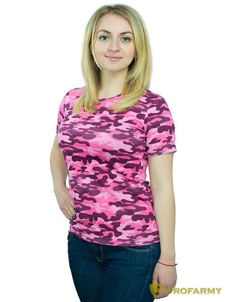 Футболка женская, короткий рукав, Pink Camo