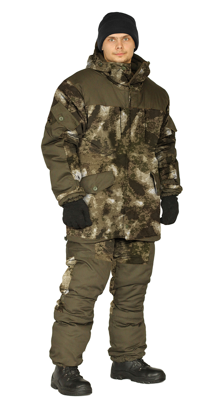 Костюм зимний ГОРКА 3 куртка/брюки, камуфляж: бежевые облака/темный хаки, Рип-Стоп смс/Грета смс, Зимние брюки и полукомбинезоны - арт. 1120480348
