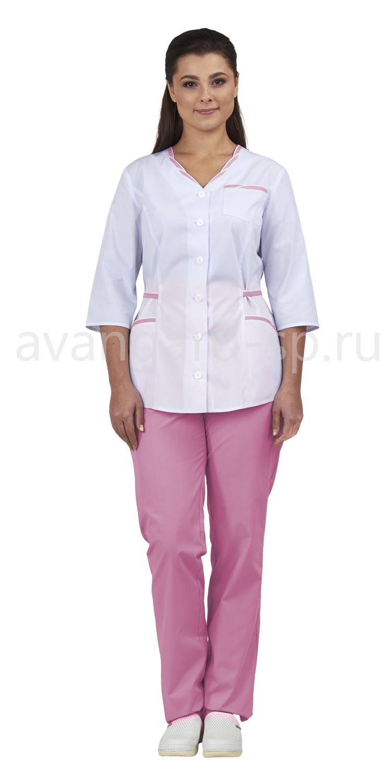Комплект одежды медицинской женской Ольга NEW (блуза и брюки) белый+розовый, Медицинские костюмы - арт. 736390249