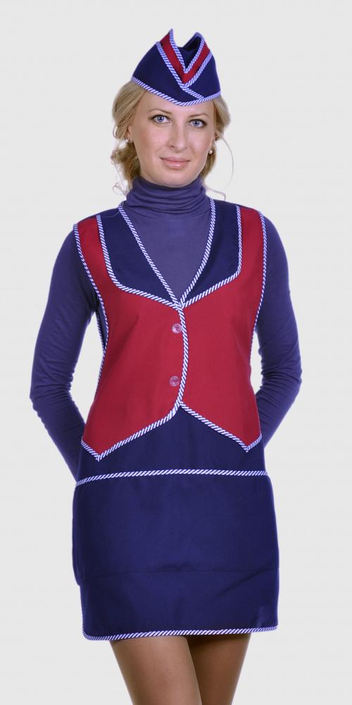 Фартук Карамель т.-синий с красным