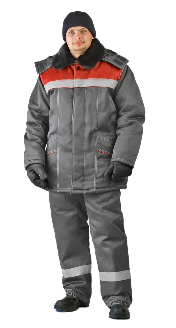 Костюм зимний ВЬЮГА куртка/полукомбинезон цвет: темно-серый/красный, Зимние костюмы - арт. 1064570258