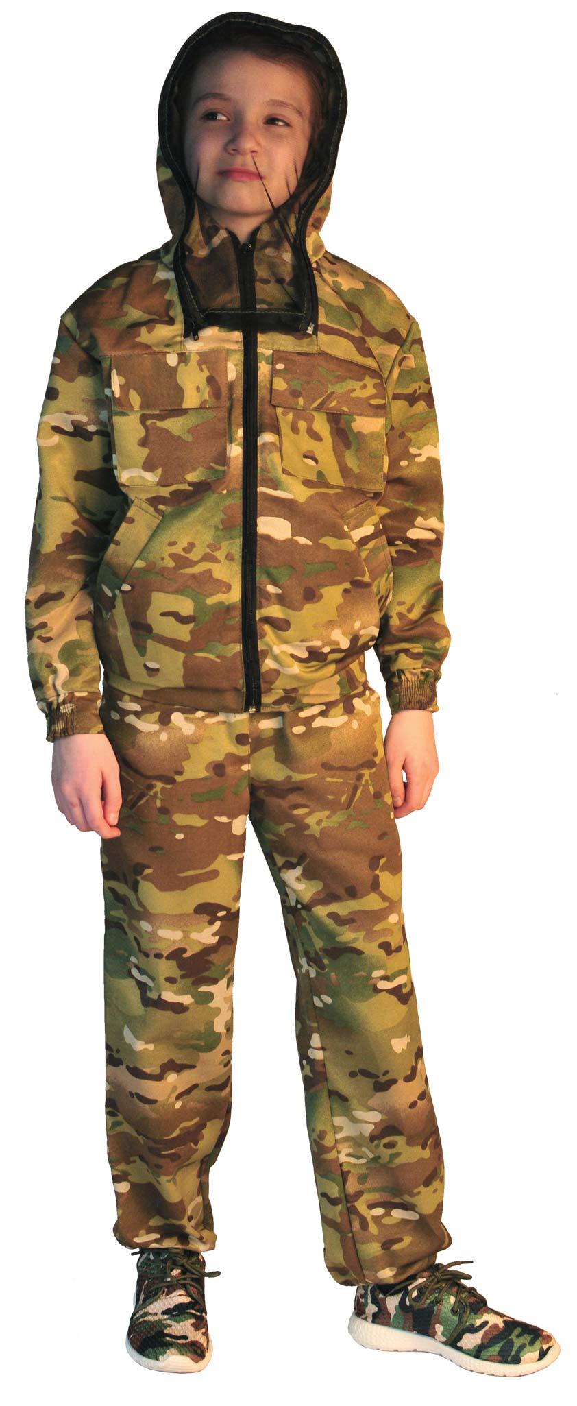 Костюм детский МиниТурист-Антимоскит (Маскхалат), камуфляж, ткань грета Мультикам, Халаты - арт. 1019920233