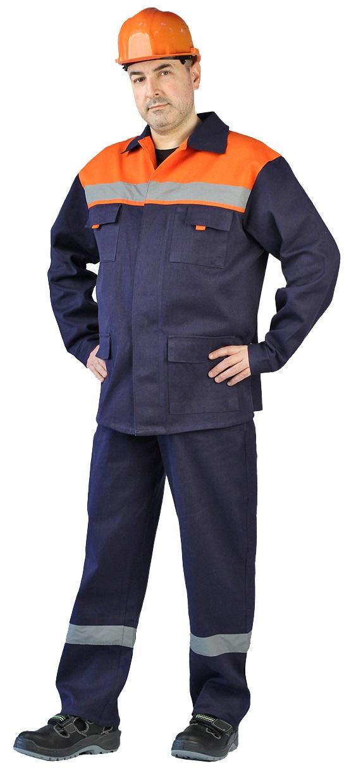 Костюм мужской с СОП Спецовка летний с полукомбинезономсиний с оранжевым 100%хлопок