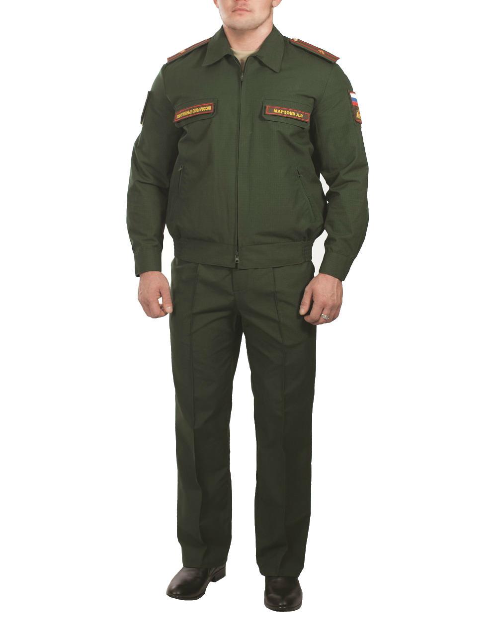 Купить Костюм МО офисный мужской длинный рукав(ткань габардин, подкладка сетка, цвет зелёный), Патруль