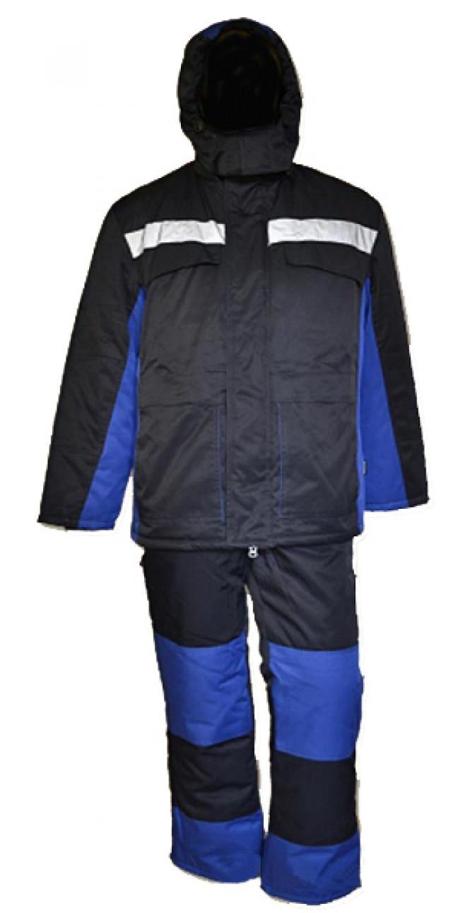 Костюм зимний УРАЛ удлиненный с полукомбинезоном синий Грета арт. 6153-10