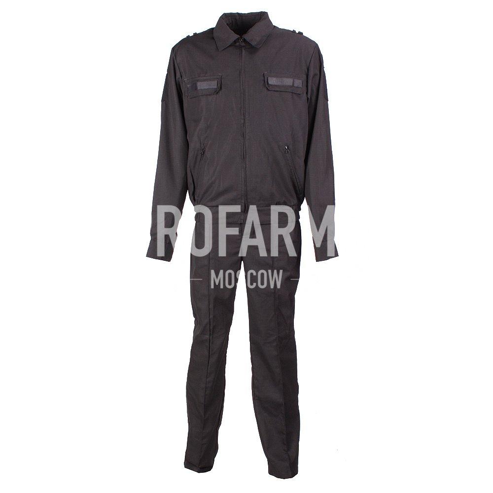 Костюм офисный черный, длинный рукав, габардин, Форменные костюмы - арт. 1051660247