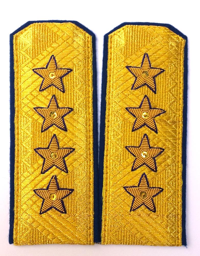 Купить Погоны МО генерал армии старого образца голубой кант парадные трапеция на китель золото, Форма одежды