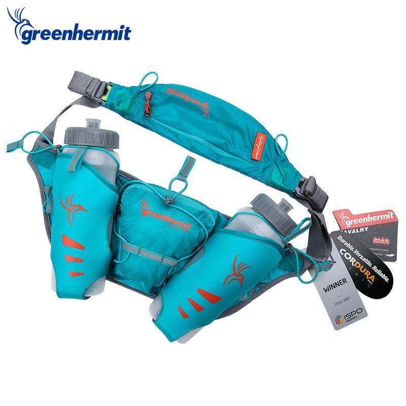 Купить Поясная сумка для тренировок с 2-мя бутылками по 500мл CAVALARY 1000 NAVY BLUE PR101036, Green Hermit