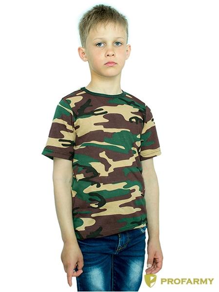 Купить Футболка детская Woodland brown Camo короткий рукав, PROFARMY