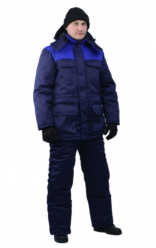 Костюм мужской Буран зимний темно-синий с васильковым