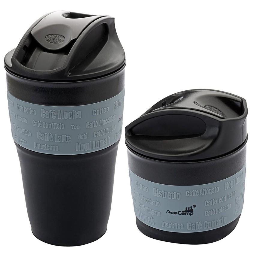 Купить Складная силиконовая кружка для кофе с крышкой 335мл. Чёрный/серый, 1539, AceCamp