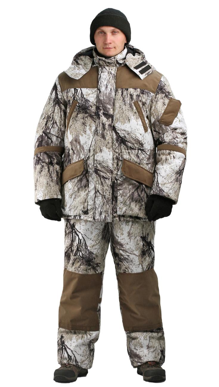 Костюм зимний ГОРКА-БУРАН куртка/полукомбинезон цвет:, камуфляж снежный лес/темно-коричневый, ткань Алова/Канада, Костюмы для охоты - арт. 1137760399