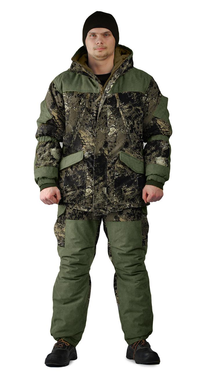Костюм зимний ГЕРКОН куртка/брюки, цвет:, камуфляж серая глина/темный хаки, ткань : Алова/Финляндия, Костюмы для охоты - арт. 1122020399
