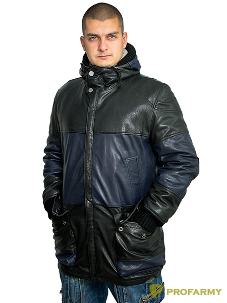 Куртка кожаная МК/17-8К Emora Lagivert+Emora Black, Демисезонные куртки - арт. 1052910334