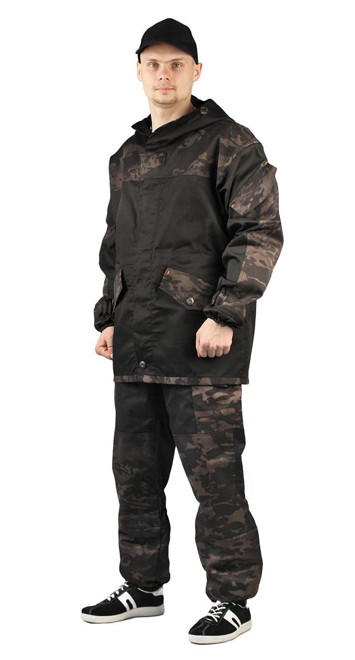 Купить Костюм ГОРКА-ГОРЕЦ куртка/брюки, цвет: Черный/камуфляж Питон черный, ткань : Грета, Ursus
