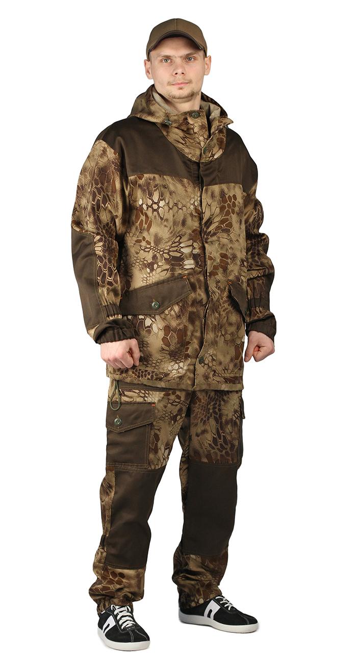 Костюм ГОРКА-ГОРЕЦ куртка/брюки, цвет:, камуфляж Питон коричневый/т.хаки, ткань : Грета