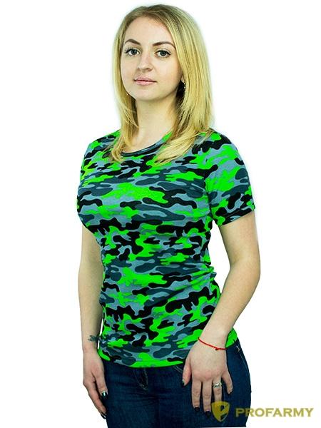 Футболка женская, короткий рукав, Green Camo