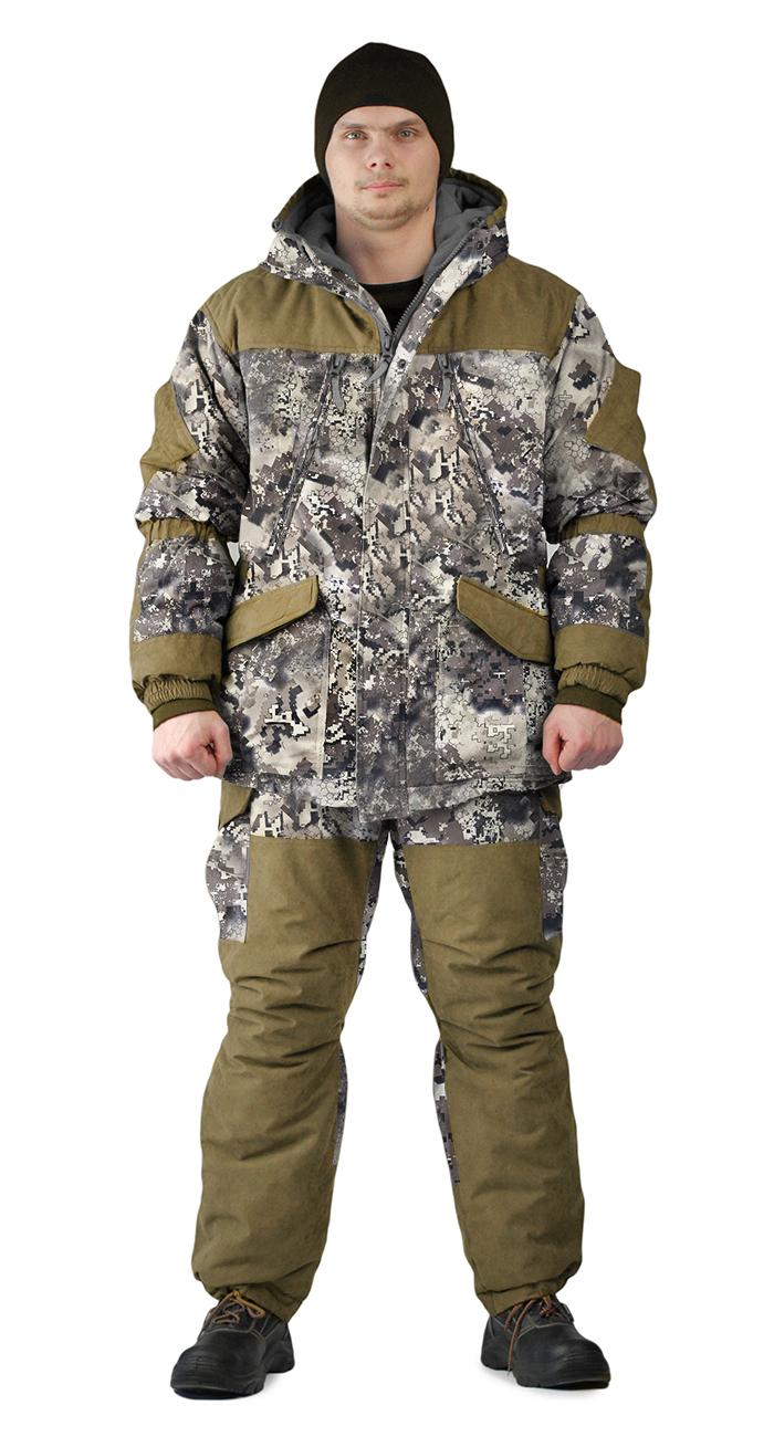 Костюм зимний ГРАСК куртка/полукомбинезон, камуфляж серые соты/темный хаки, ткань : Алова/Финляндия, Костюмы для охоты - арт. 1149680399