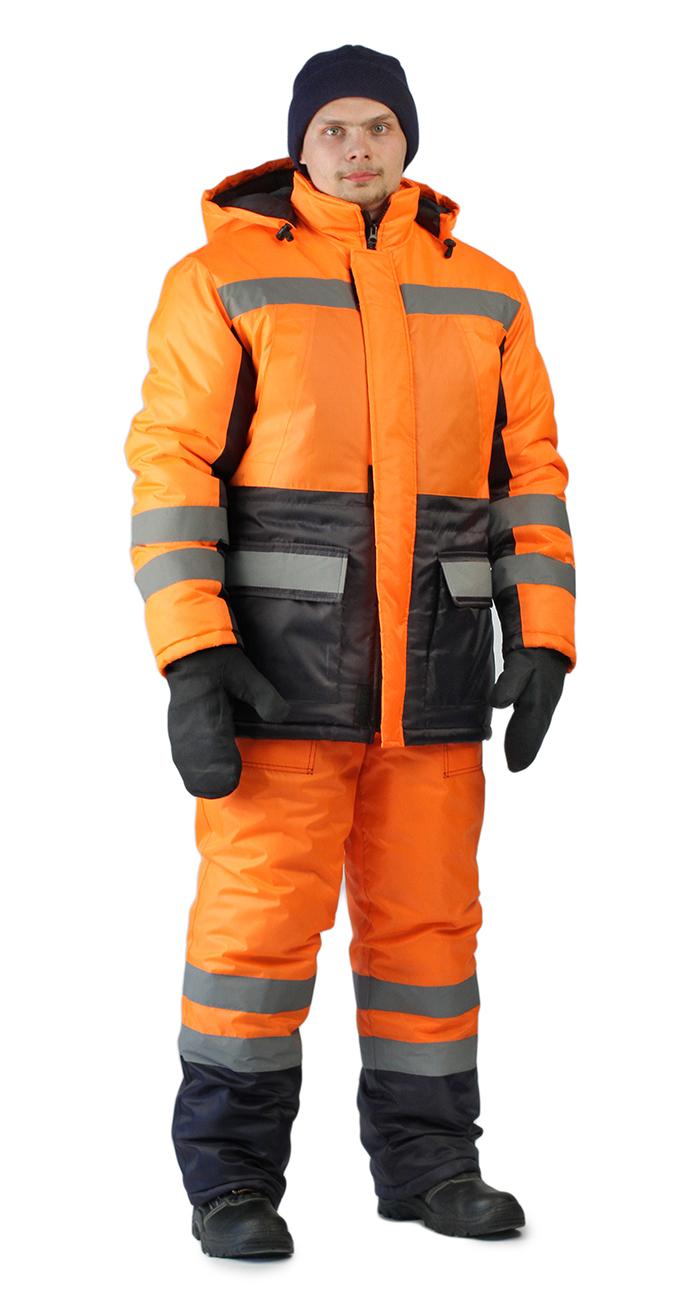 Костюм зимний СКАНДИН-ДОРОЖНЫЙ куртка/полукомб. цвет: оранжевый/т.синий, Зимние костюмы - арт. 1069380258