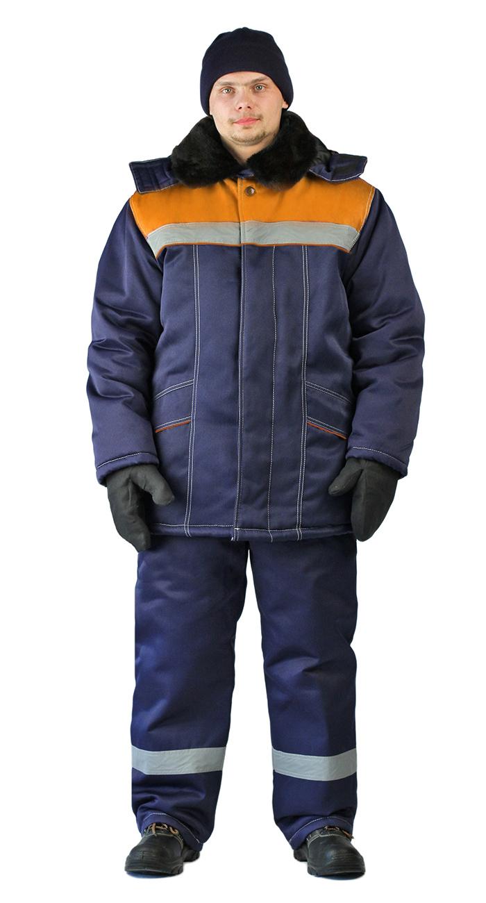 Костюм зимний ВЬЮГА куртка/полукомб. цвет: т.синий/оранжевый, Зимние костюмы - арт. 1068560258