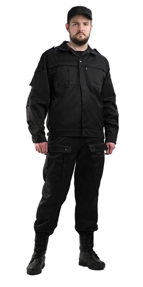Костюм мужской Спецназ черный, ткань смесовая - артикул: 800050248