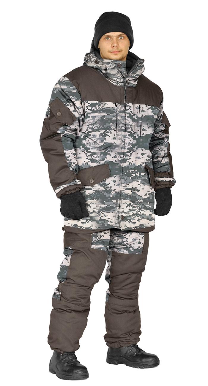 Костюм зимний ГОРКА 3 куртка/брюки, цвет:, камуфляж серая цифра/т.хаки, ткань : Курточная/Таслан, Куртки - арт. 1107100156